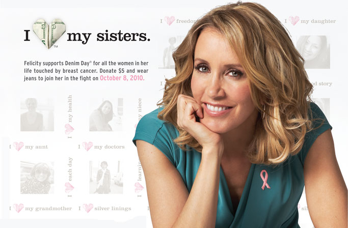 Felicity Huffman Named 2010 Lee National Denim Day Ambassador,  Celebrates 15 Years In The Fight Against Breast Cancer By Wearing Jeans